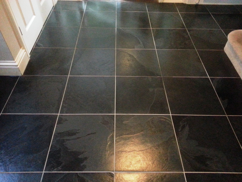Black slate tiled floor cleaned and sealed in east sussex east black slate tiled floor cleaned and sealed in east sussex east sussex tile doctor dailygadgetfo Gallery