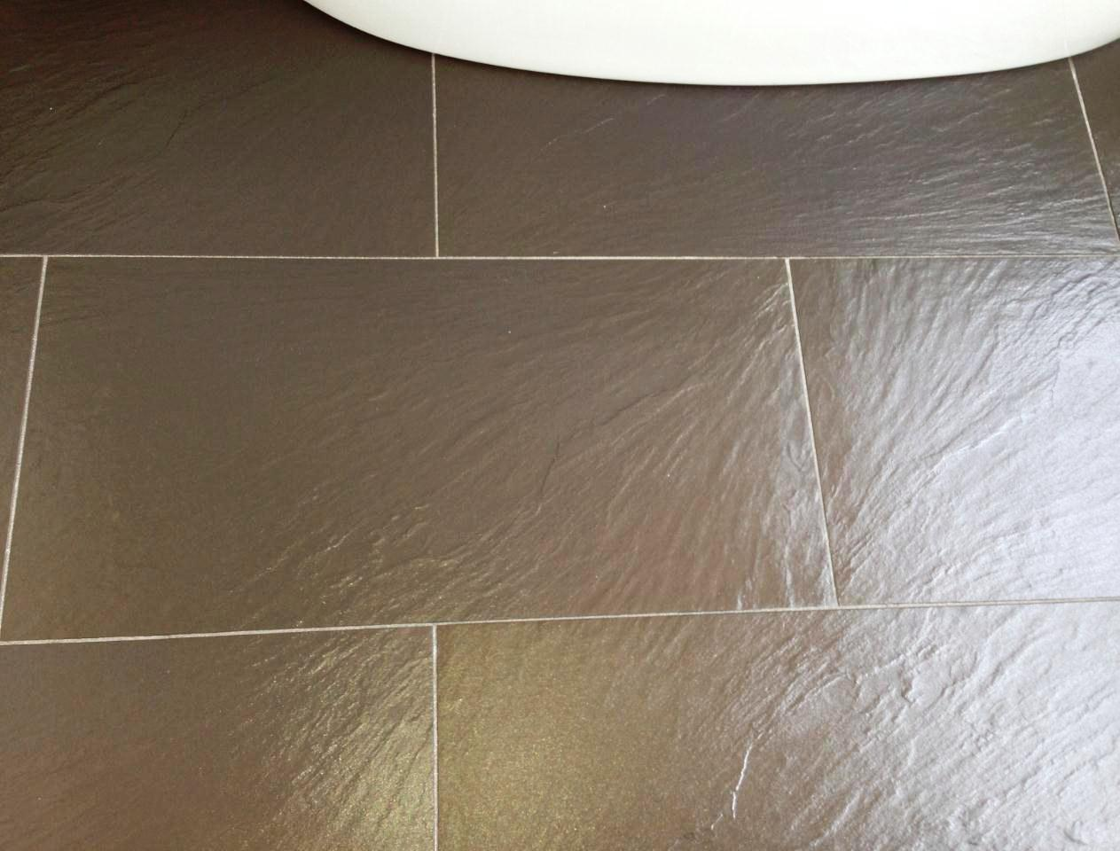 Resolving Limescale Problems On Black Slate Tiles In Hove East Sussex Tile Doctor