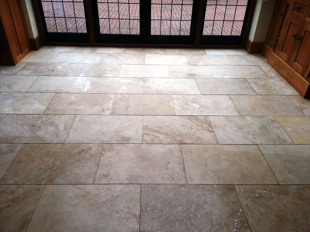 Travertine Tiled Floor East Grinsted Before