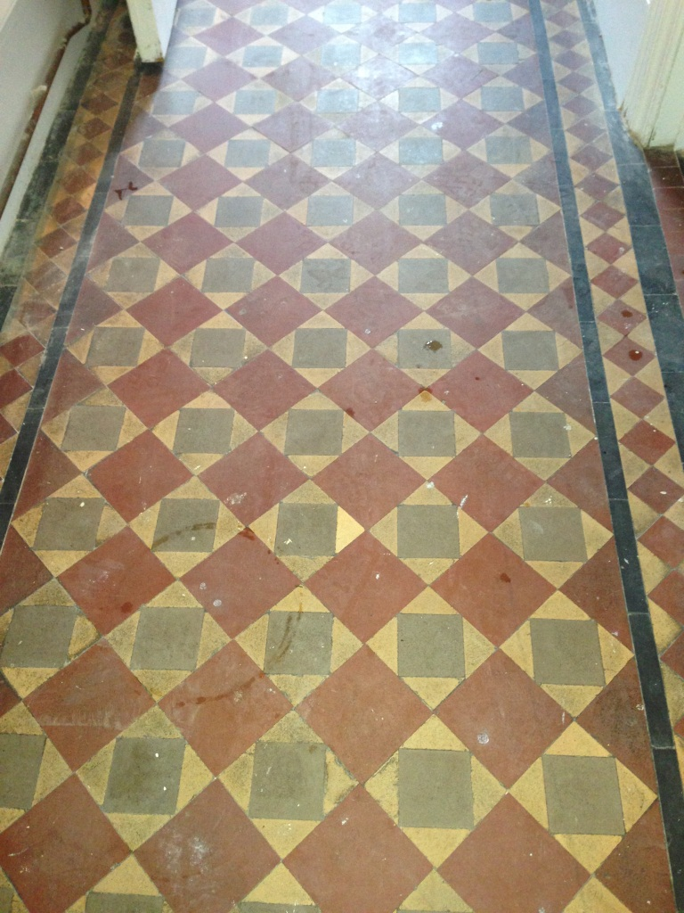 Victorian Tiles in Brighton Before Restoration