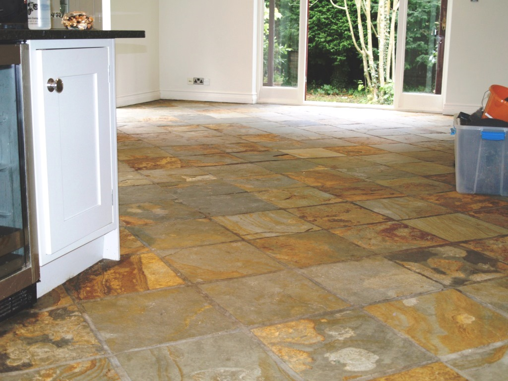 Floor restoration stone cleaning and polishing tips for slate floors slate tiled floor chelwood gate before cleaning dailygadgetfo Gallery