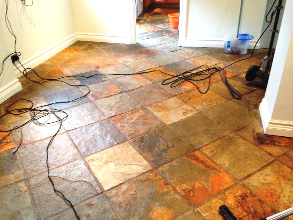 Slate Tiled Floor Chelwood Gate During Cleaning