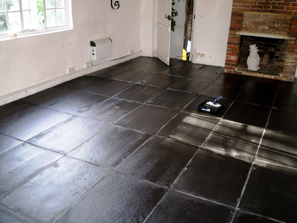 slate floor in beckley barn after - Slate Floor Tiles