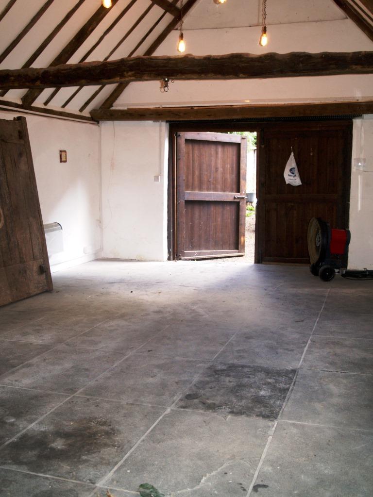 Slate Floor in Beckley Barn Before