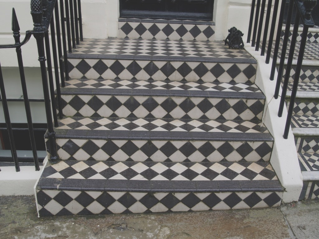 Victorian Tiled Steps Brighton Marina Before Cleaning