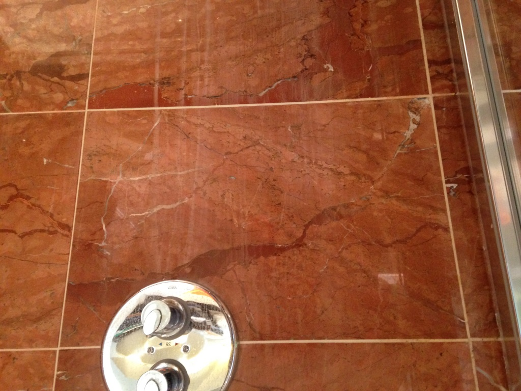 Damaged Marble Shower Tiles in Ringmer Before
