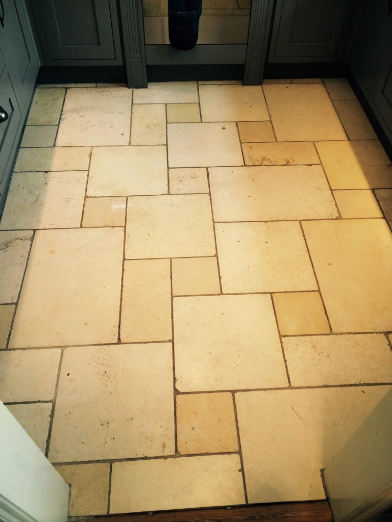 Regular maintenance cleaning of limestone tiled floors stone limestone kitchen floor before cleaning in hartfield dailygadgetfo Choice Image