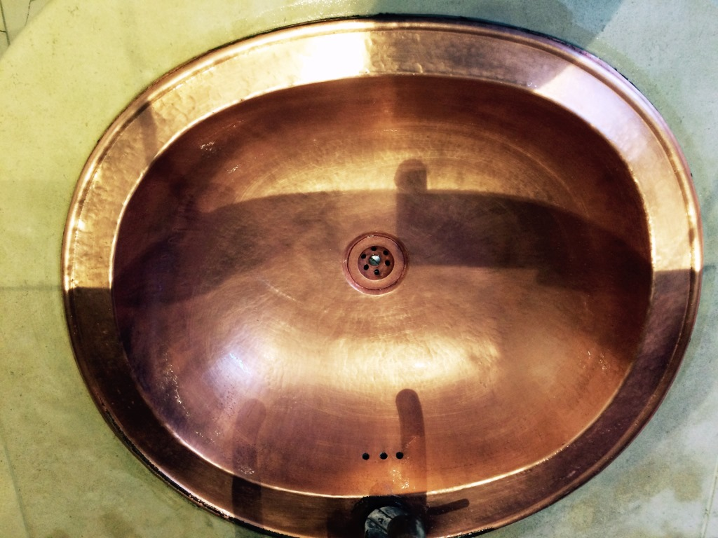 Brighton Luxury Flat Copper Sink After Cleaning