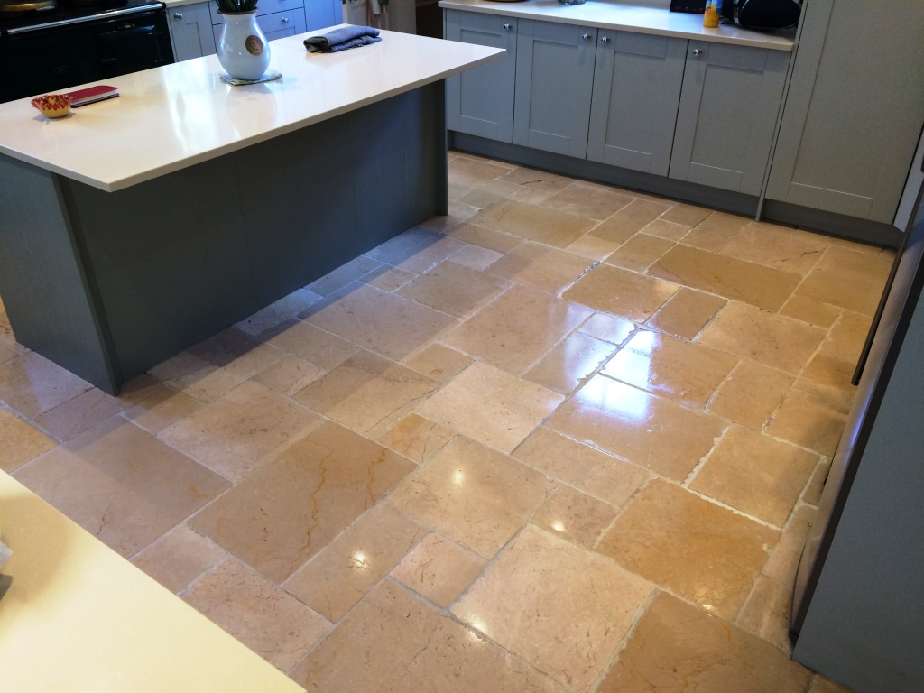 Limestone Flooring Kitchen Deep Clean And Seal Of A Dirty Limestone Tiled Kitchen Floor In