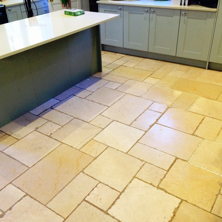 Deep Clean And Seal Of A Dirty Limestone Tiled Kitchen Floor In Icklesham |  East Sussex Tile Doctor