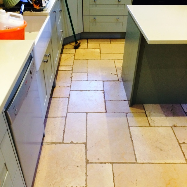 Filthy Limestone Kitchen in Icklesham Before Cleaning