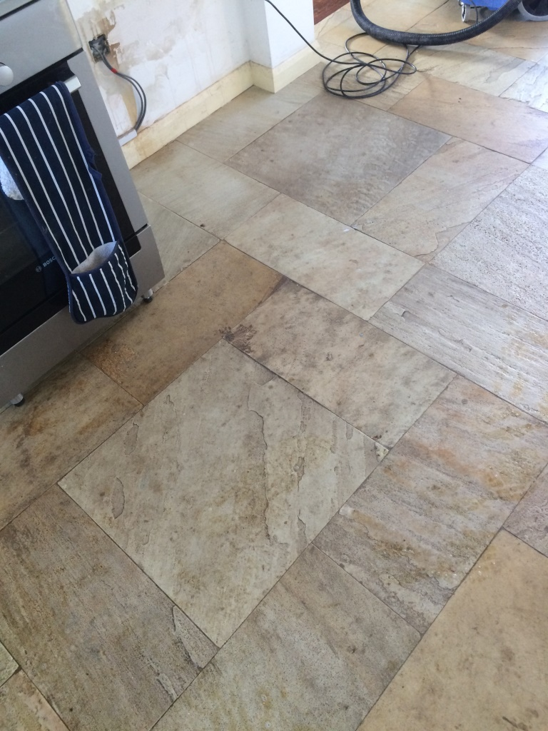 Slate Kitchen Flooring Cleaning Very Dirty Riven Slate Kitchen Tiles Stone Cleaning And
