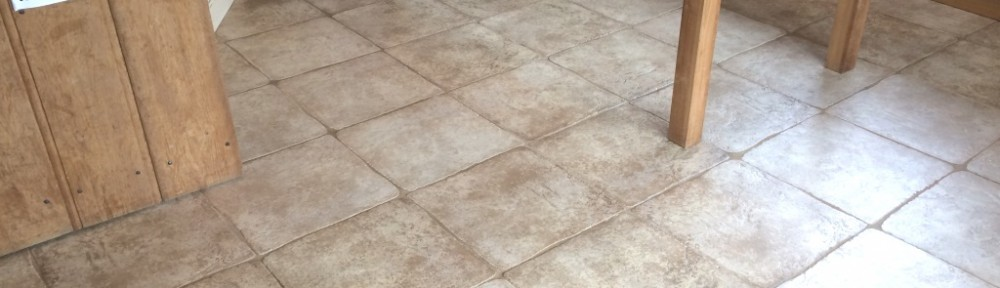 Deep Cleaning a Textured Limestone Kitchen floor in Horsham