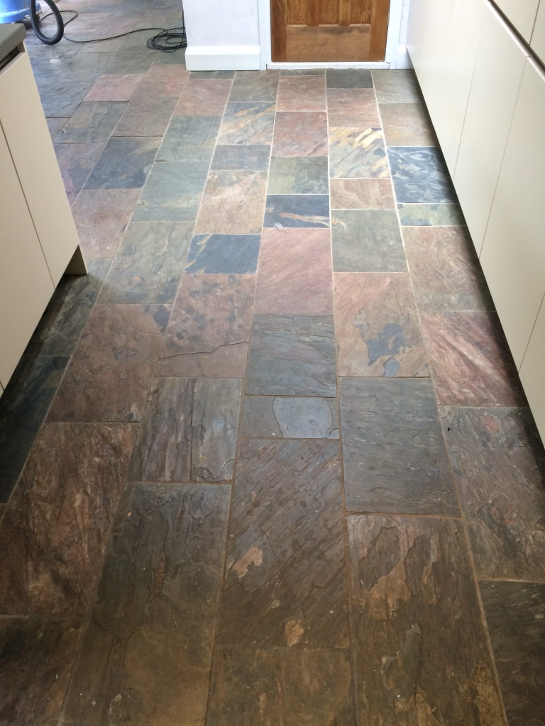 Slate Flooring For Kitchen Dirty Slate Tiled Kitchen Floor Cleaned And Sealed In Mayfield