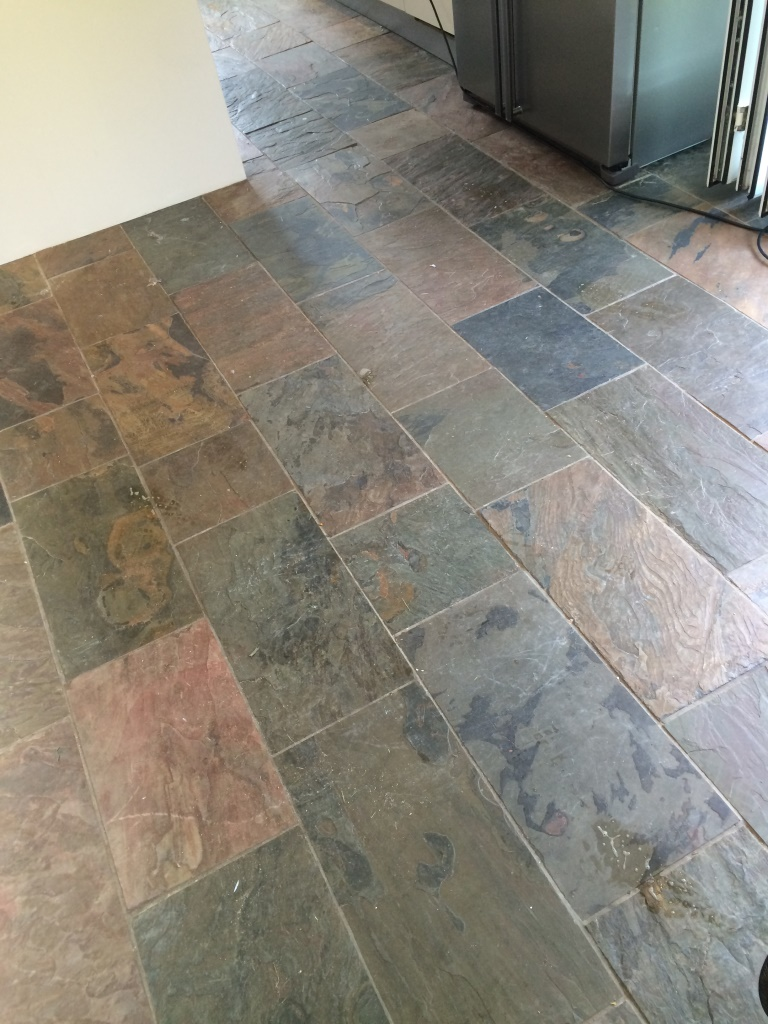Slate Kitchen Floors Dirty Slate Tiled Kitchen Floor Cleaned And Sealed In Mayfield