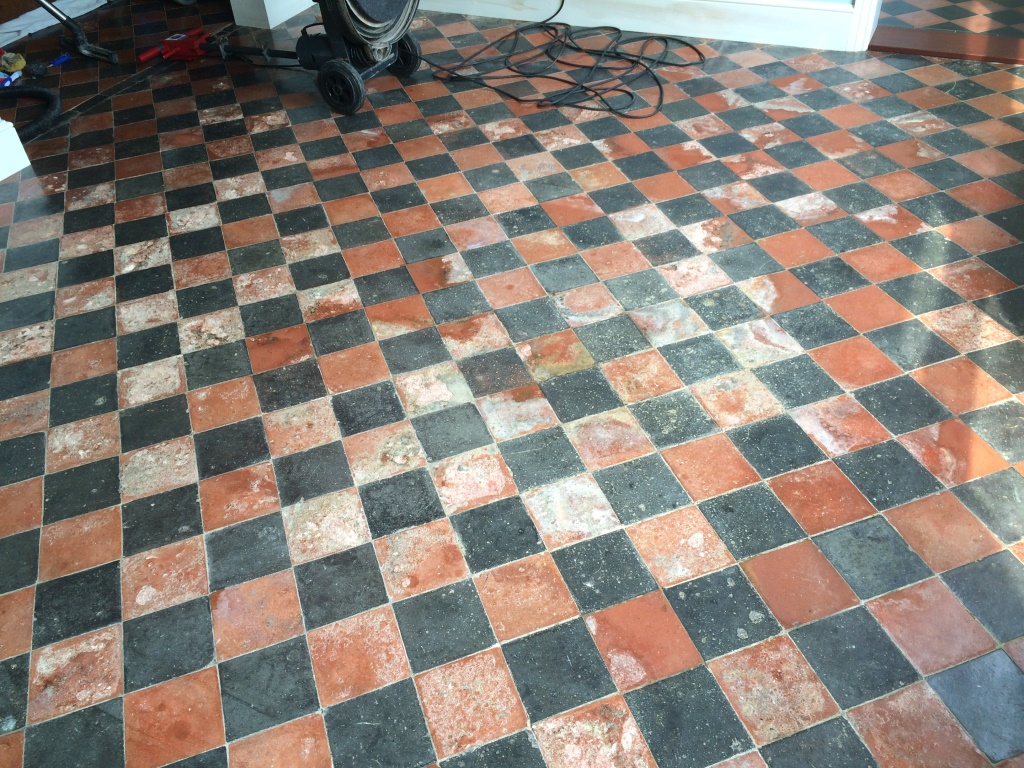 Water Damaged Quarry Tiled Floor Restoration East Grinstead After Cleaning