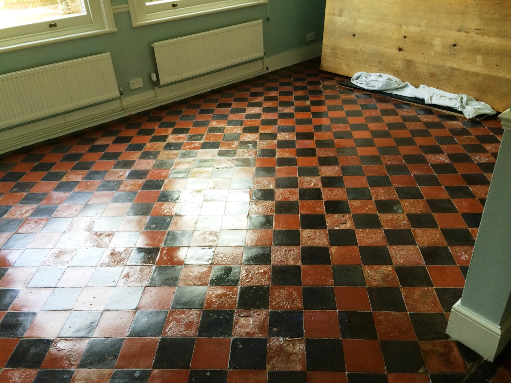 Water Damaged Quarry Tiled Floor Restoration East Grinstead After Sealing