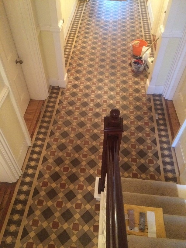 Dirty And Damaged Victorian Tiled Hallway Restored In