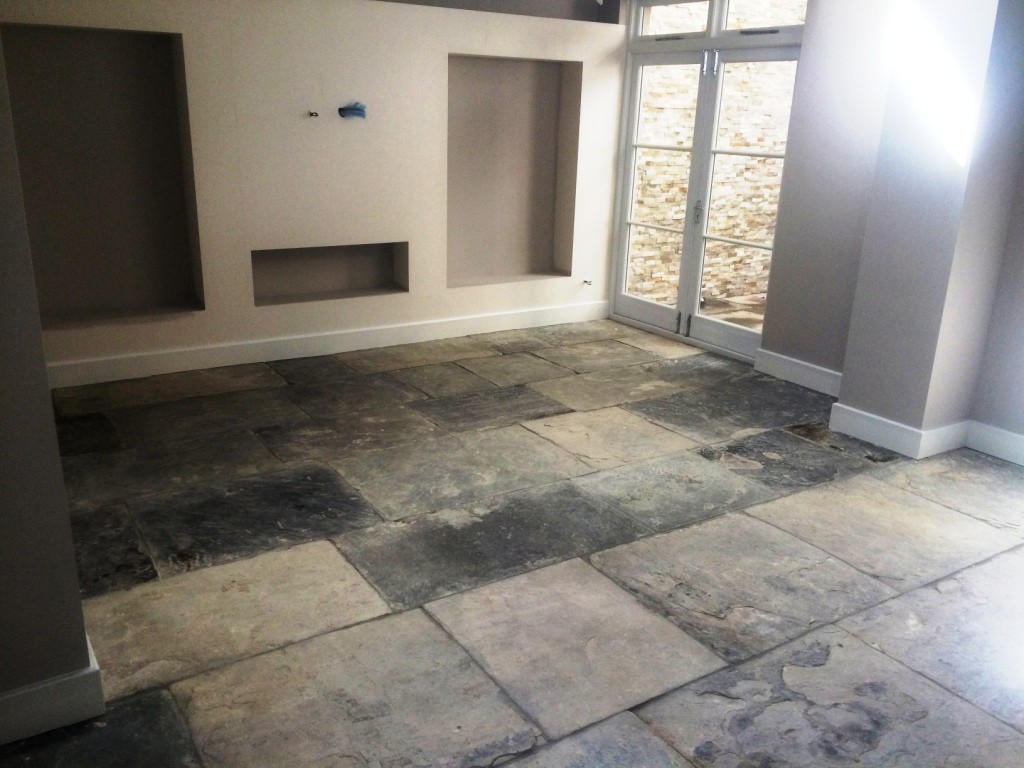 Restoration of an extremely dirty yorkstone tiled floor in for Pictures of floor tiles for kitchens