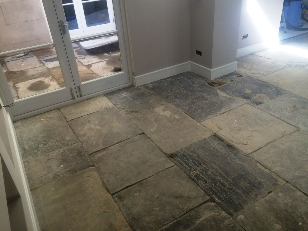 Yorkstone Kitchen Floor Before Cleaning Brighton