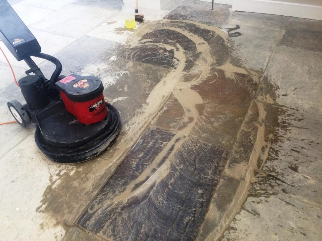 Restoring Yorkstone Tiled Flooring after Builders   Stone Cleaning ...