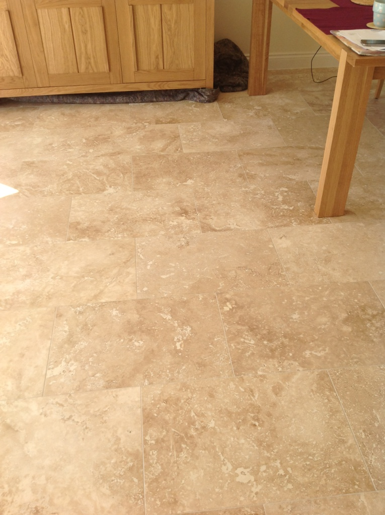 Travertine floor before honing and polishing Polegate