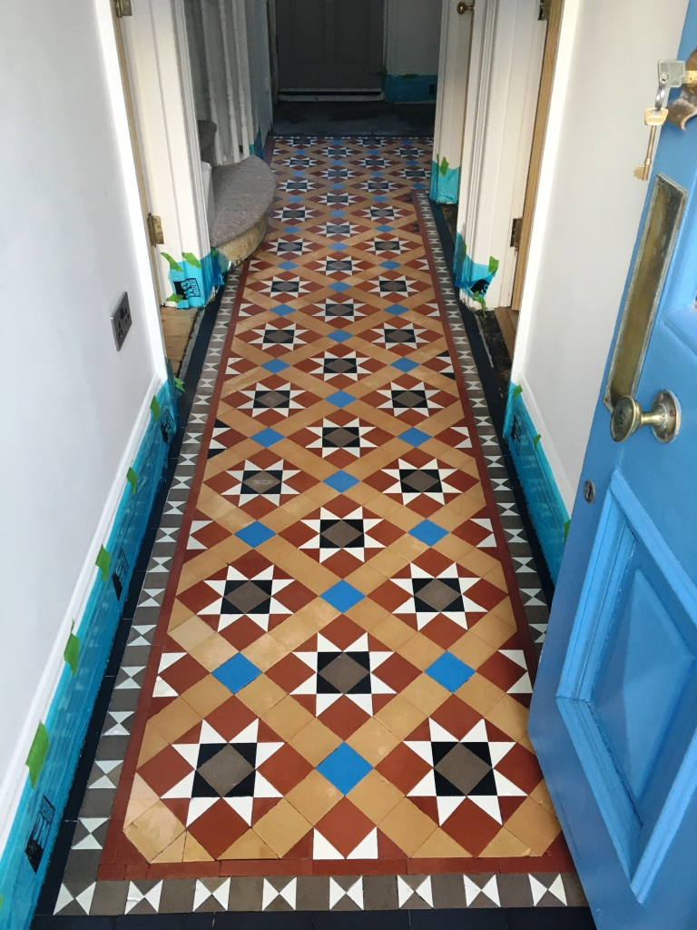 Victorian Tiled Hallway Floor After Restoration Hove