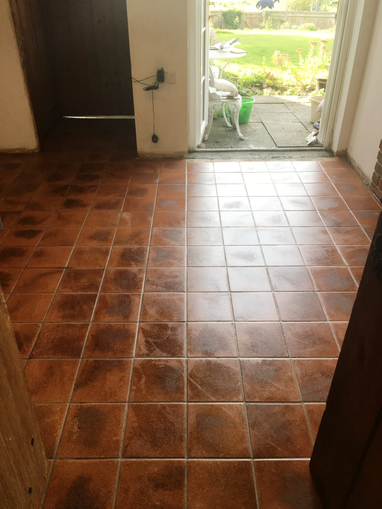 Dirty Quarry Tiled Kitchen Floor After Cleaning Rotherfield