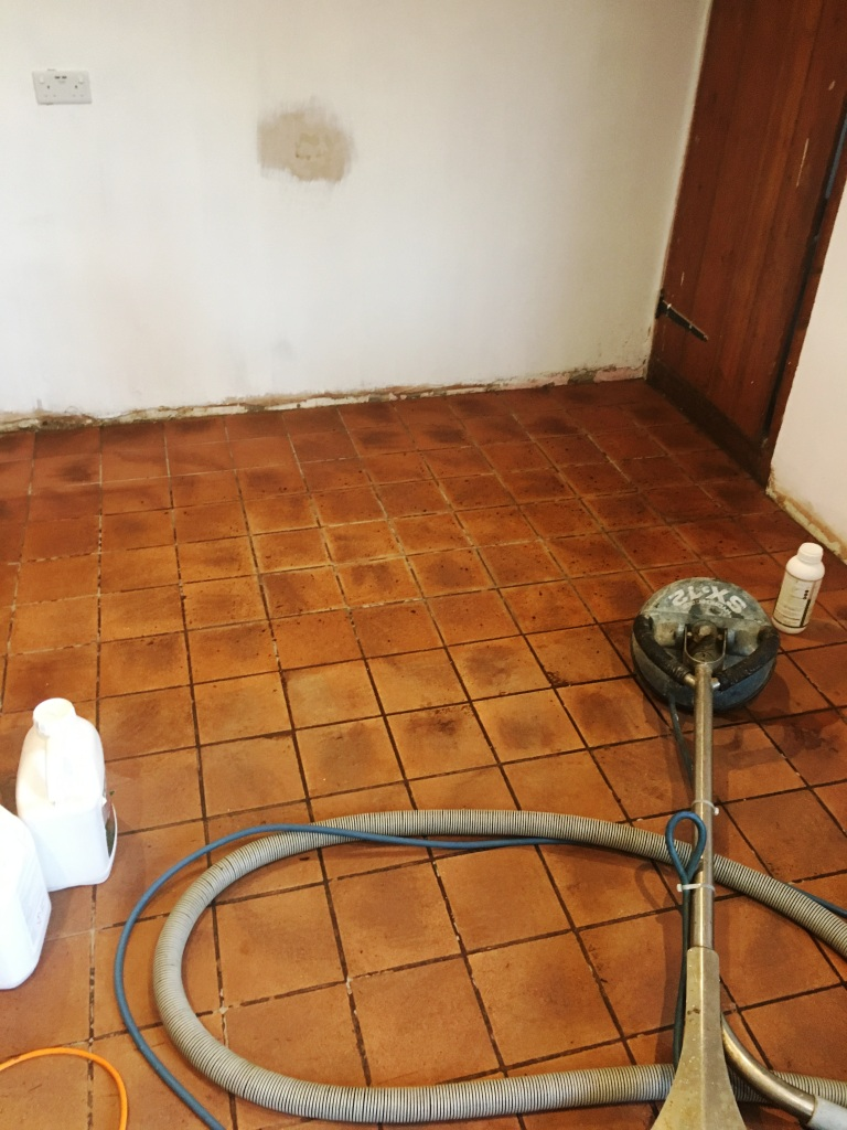 Dirty Quarry Tiled Kitchen Floor During Cleaning Rotherfield