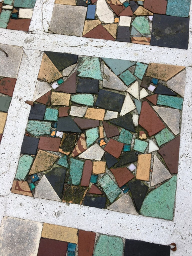 Mosaic Pathway Before Cleaning in Eastbourne
