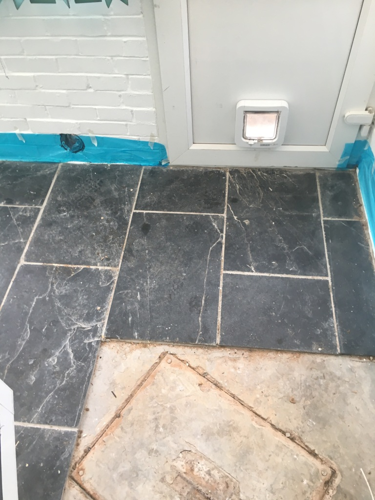 Black Slate Tiled Floor During Cleaning Bexhill