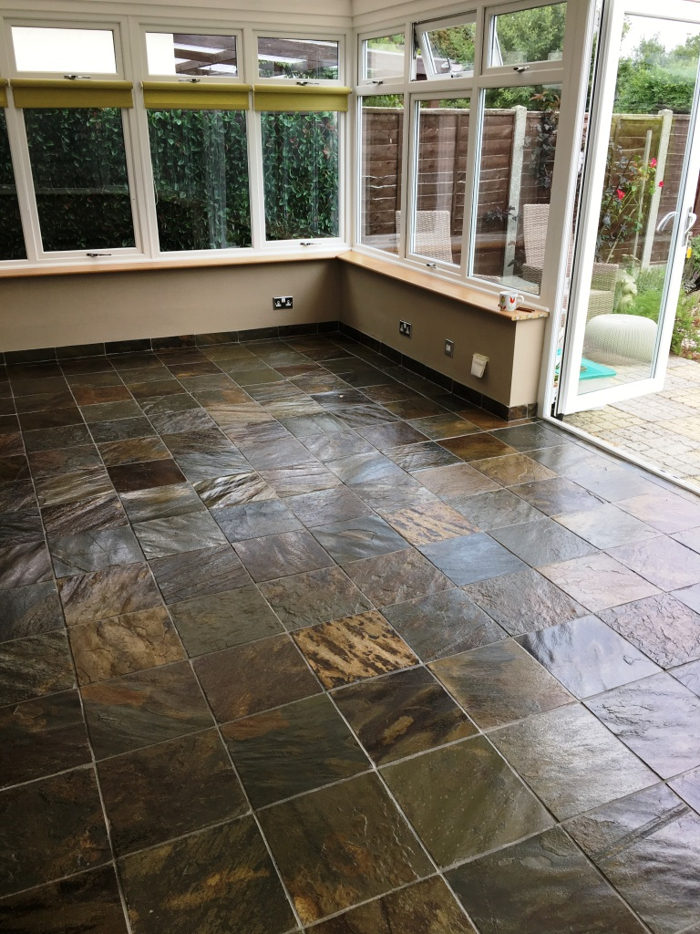 Coloured Slate Tiled Floor After Cleaning Eastbourne