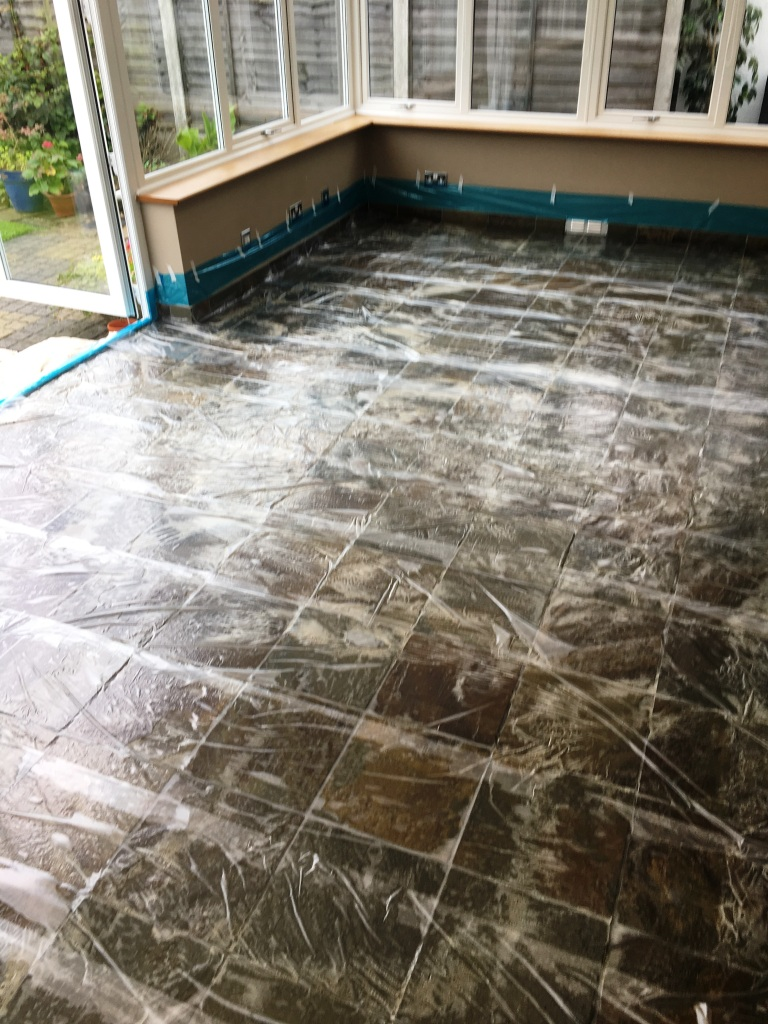 Coloured Slate Tiled Floor During Cleaning Eastbourne