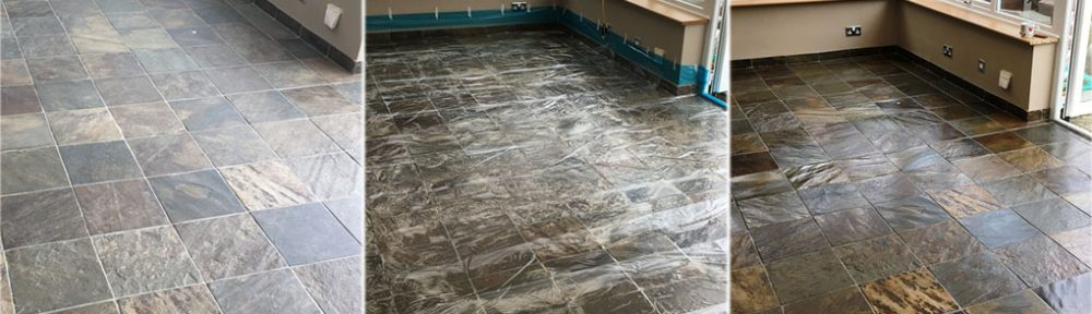 Slate Tiled Conservatory Floor Before and After Cleaning Eastbourne
