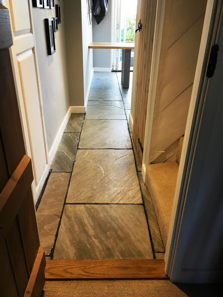 Flagstone floor after restoration Vines Cross