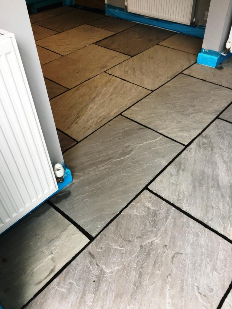 Flagstone floor during restoration Vines Cross