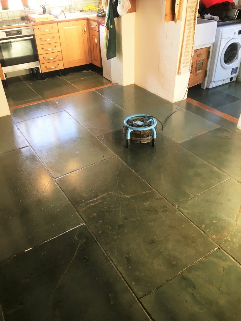 Green Slate Tiled Floor After Cleaning Sealing Hastings