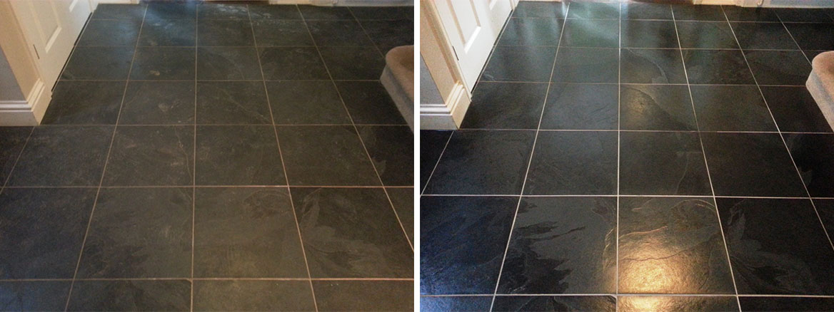 Black Slate tiled floor cleaned and sealed in East Sussex