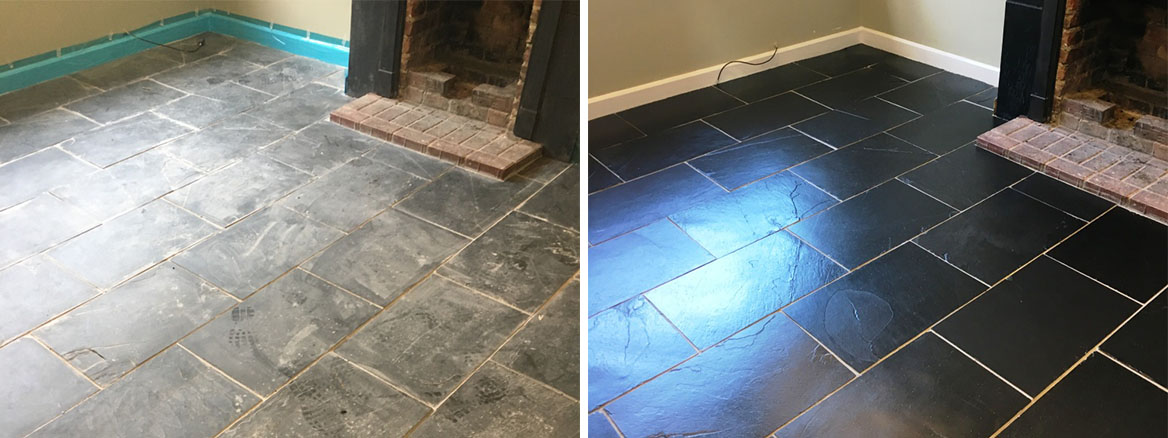 Poorly Installed and Stained Black Slate Floor Restored in Bexhill