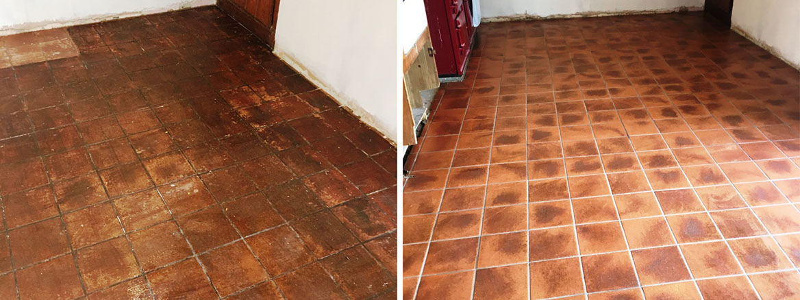 Very Dirty Quarry Tiled Kitchen Floor Restored in Rotherfield