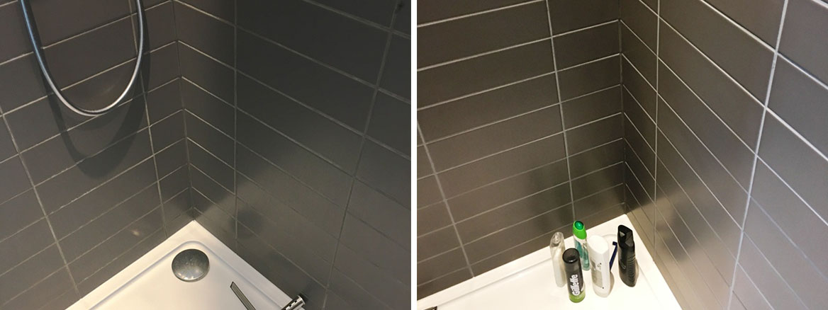Porcelain Shower Cubicle Grout Refreshed and Recoloured in Eastbourne