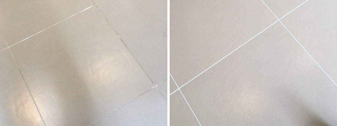 Porcelain Kitchen Tiles Before and After Grout Colouring in Lewes Kitchen