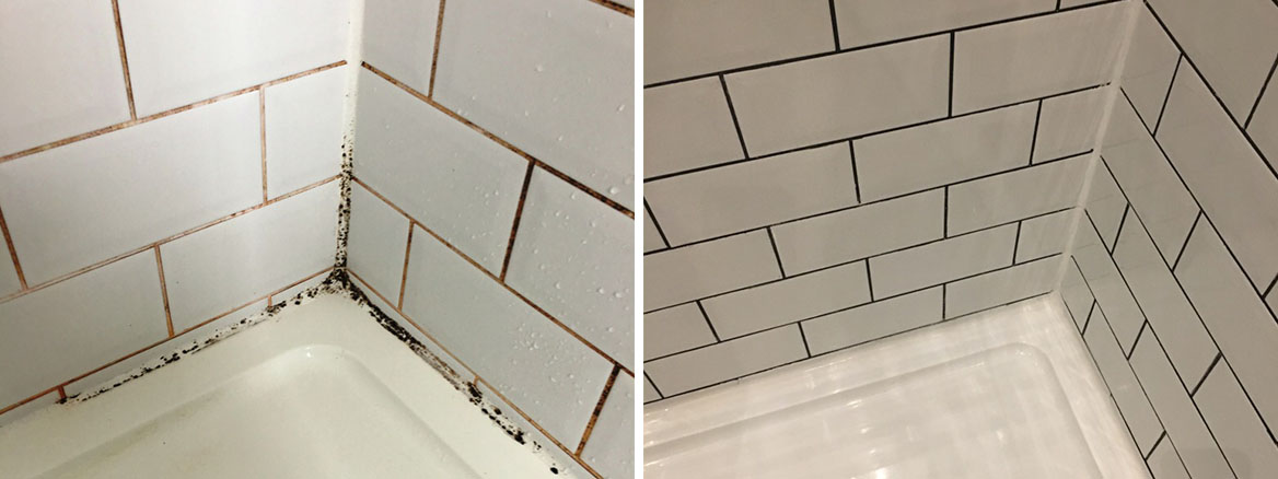 Badly Stained Grout in Porcelain Tiled Shower Cubicle Recoloured in Hove