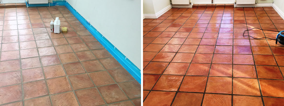Terracotta Floor Before and After Cleaning Brighton