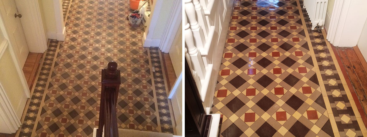 Dirty and Damaged Victorian Tiled Hallway Restored in Heathfield