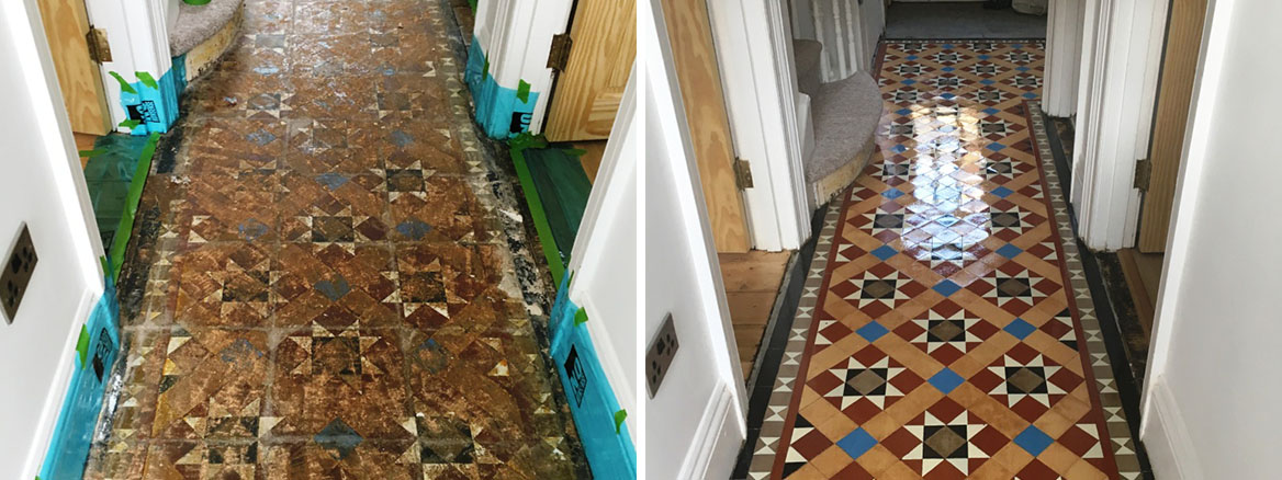 Victorian Tiled Hallway Floor Before and After Restoration Hove